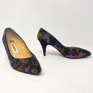 Vintage Caparros Multicolor Beaded Pumps Heels 6.5